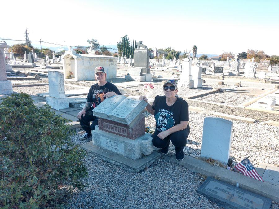 Brenda Bonturi and Sarah Klassen at Calvary Cemetery in Hollister.