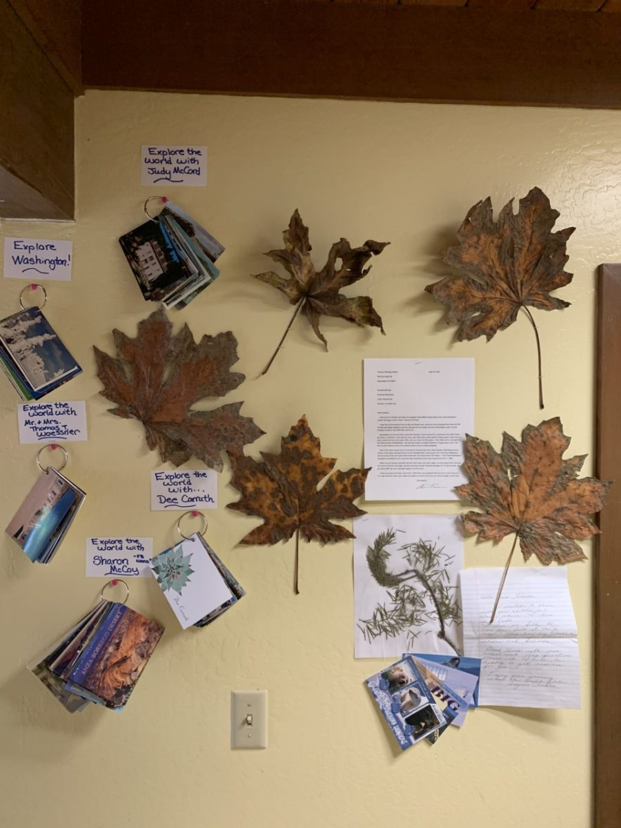Extra gifts received include giant maple leaves from Canada, a pine branch from Alaska and spices from Greece. Photo provided by Amanda McCraw.
