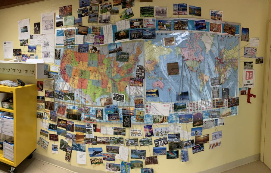 The full map of postcards and where they came from. Photo provided by Amanda McCraw.