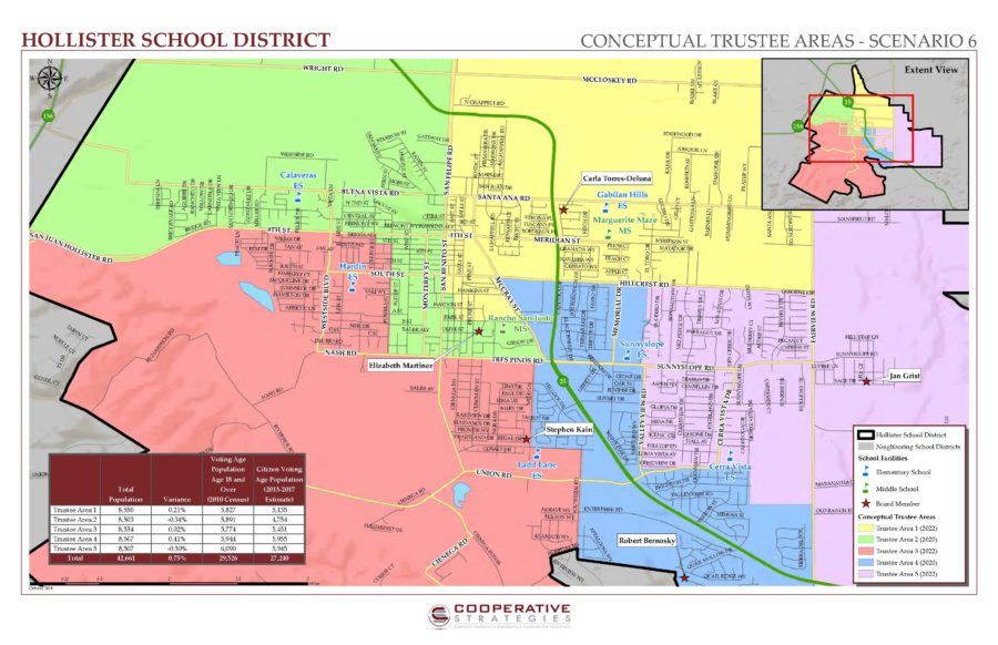HSD Trustee Area Map #6. Map courtesy of Hollister School District.