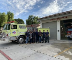 Members of the fire department and San Juan Bautista City Council members pose next to the fire engine. Photo provided by Councilwoman Leslie Jordan.