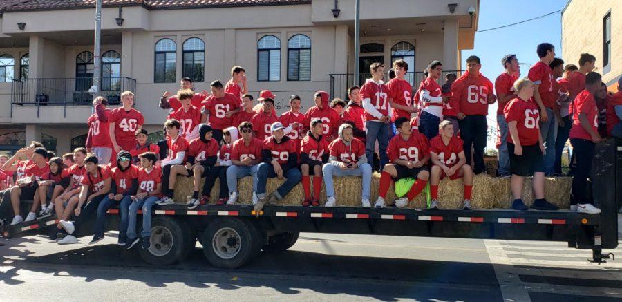 San Benito High School football team on their float. Photo by Malia Chang.
