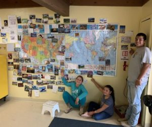 Panoche School students with their wall of postcards. Photo provided by Amanda McCraw.