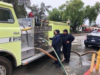 Crew tests the fire engine before it's picked up by charity. Photo provided by City Manager Don Reynolds.