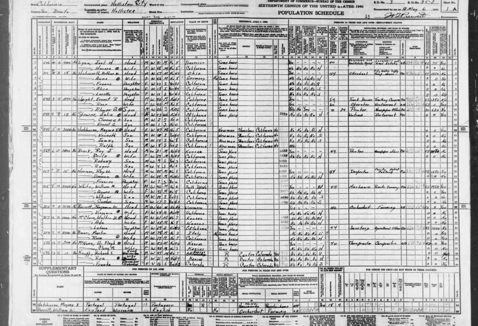 A Hollister, CA 1940 Census record. Provided by Marty Richman.