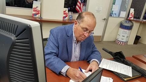 John Freeman registering to run for District 2 Supervisor. Photo provided by John Freeman.