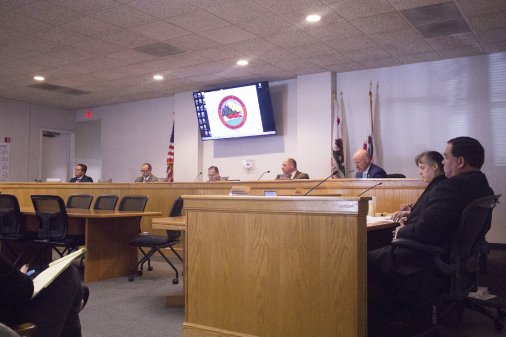 The San Benito County Board of Supervisors at a Jan. 14 meeting. Photo by Noe Magaña.