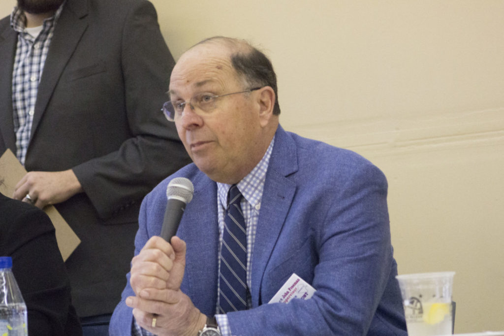 John Freeman during the San Benito County Chamber of Commerce 2020 election forum. Photo by Noe Magaña.