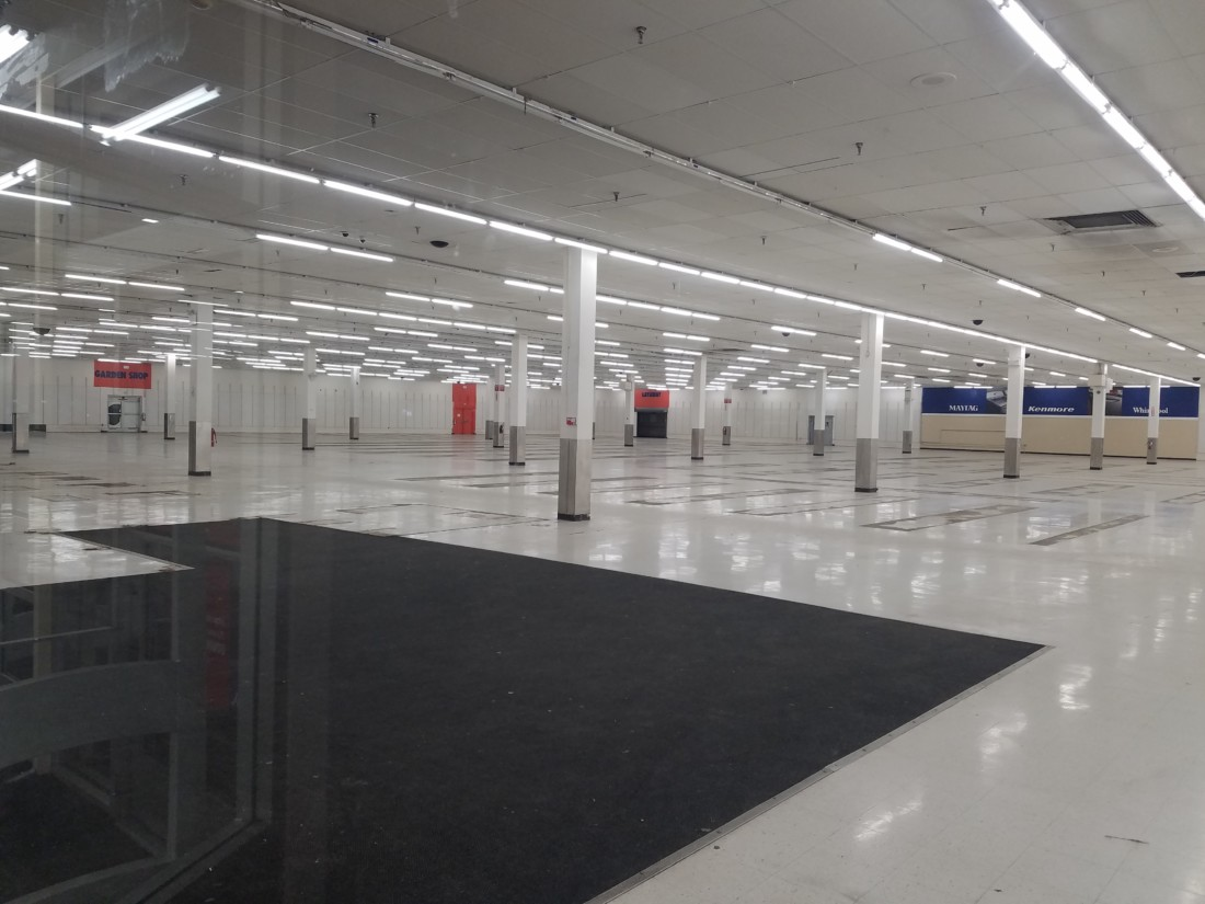 The interior of the Kmart building after it closed in February 2020. Photo by Noe Magaña.