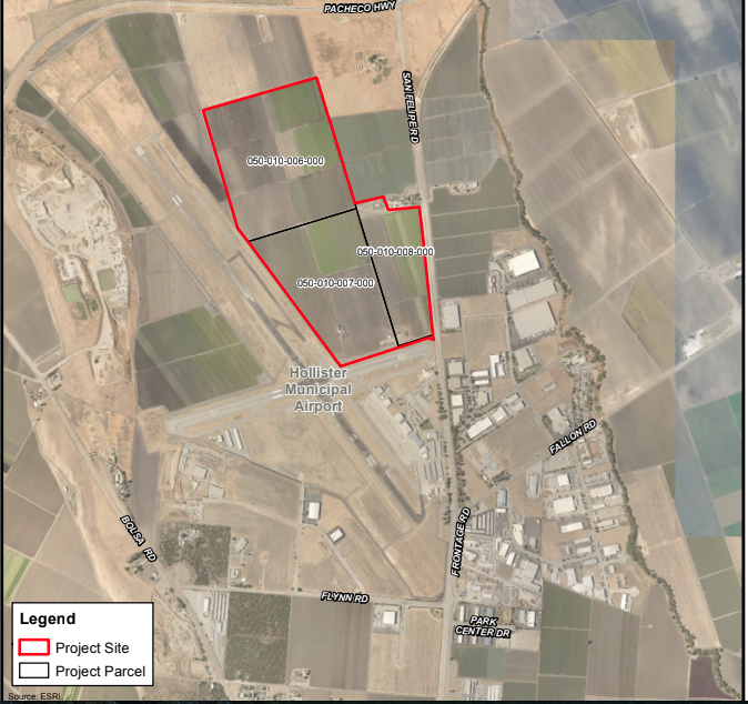 The Clearist Industrial Park will be located in the areas marked in red. Image from the Jan. 23 Hollister Planning Commission meeting agenda.