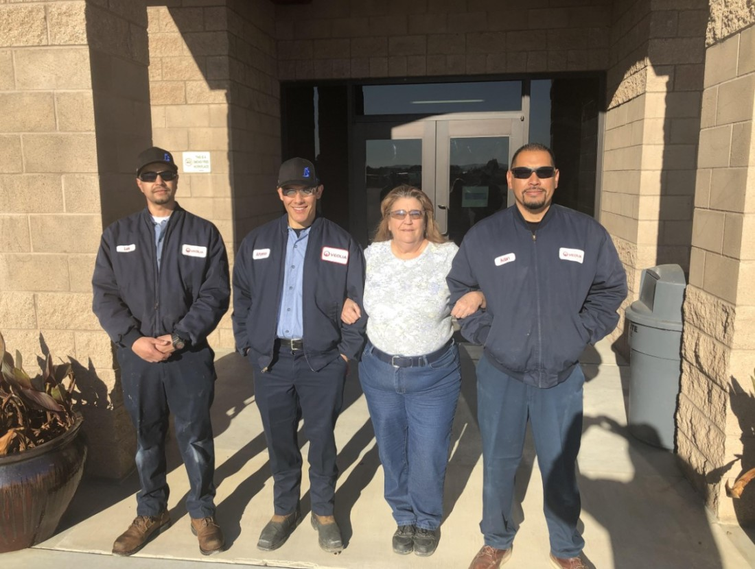 Hollister Water Reclamation Facility Staff: Luis Vasquez, AJ Castaneda, safety coordinator Jeri Cramer and Adan Cervantes. Photo courtesy of Andy Hoglund.