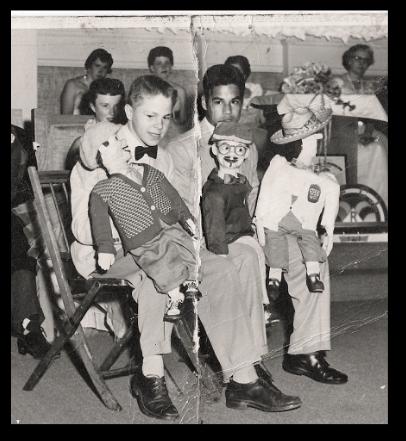 Luis Valdez with his ventriloquist dummy. Photo courtesy of El Teatro Campesino.
