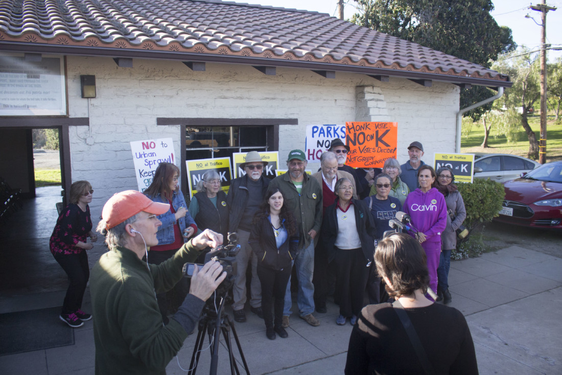 A group of No on Measure K gather to give announce the submittal of an initiative to amend the General Plan to remove commercial nodes. Photo by Noe Magaña.