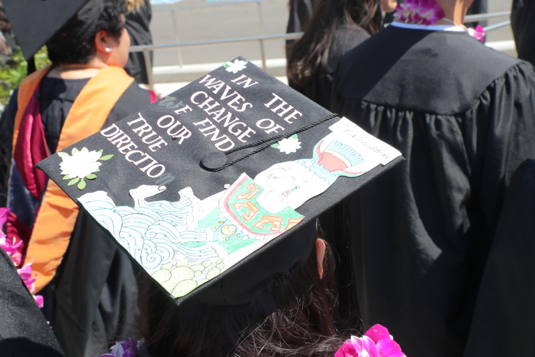 A cap at the 2019 Gavilan College graduation. Photo by Robert Eliason.