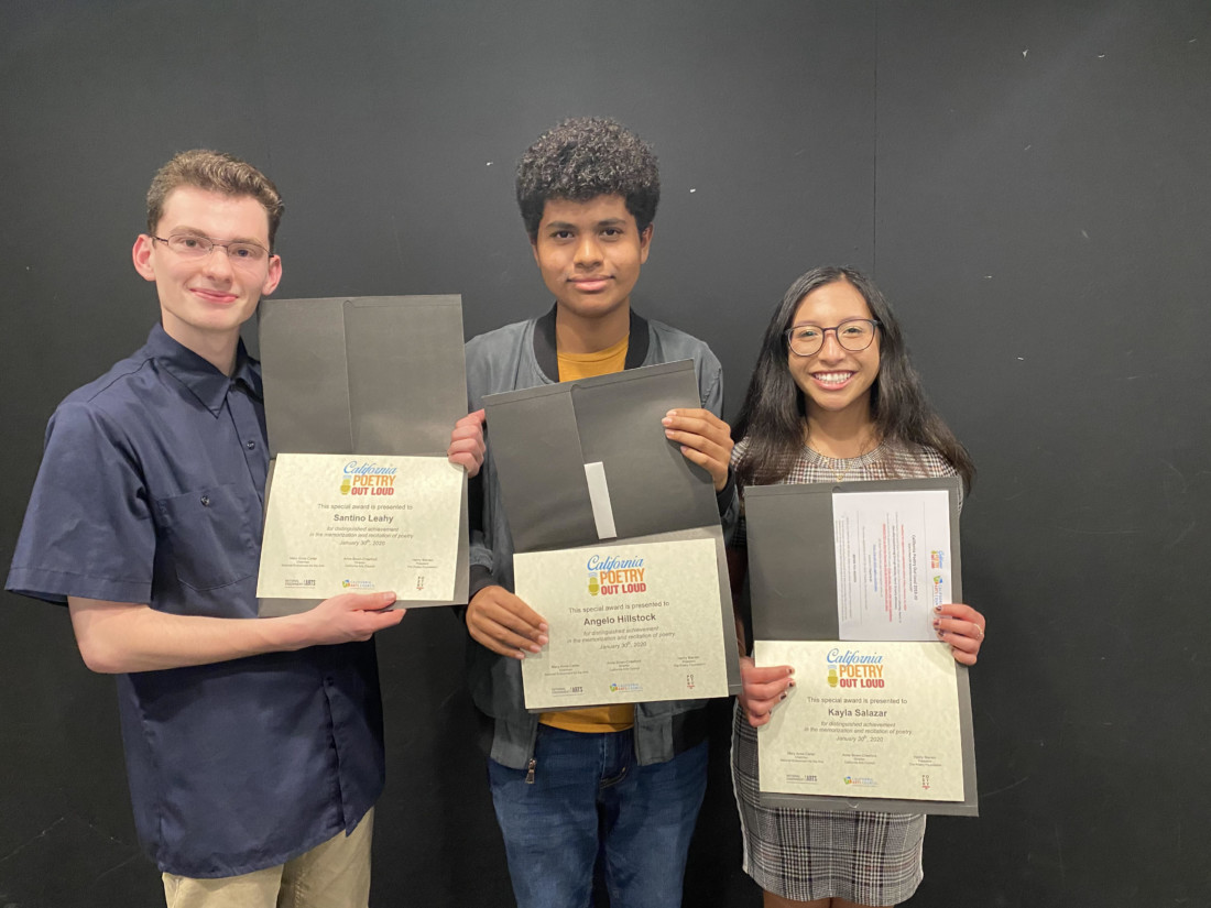 Santino Leahy, Angelo Hillstock and Kayla Salazar received the highest marks and moved to the final round where they each recited a second poem. Photo by Kaitlyn Fontaine.