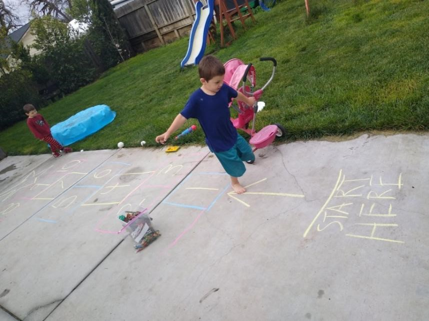 Parents suggested creating mazes, a hopscotch game, or an obstacle course to keep your child moving. Photo provided by Heather Nichols.