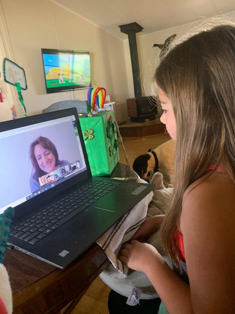 McKenna meeting with her teacher via video call. Photo provided.