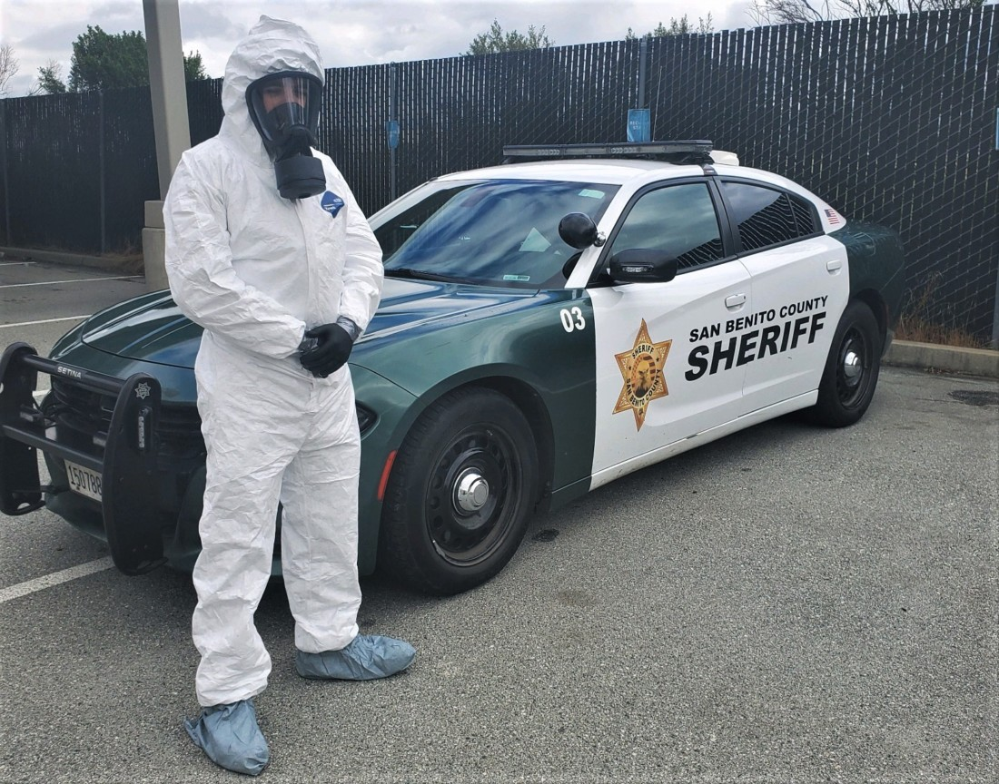 SBC Sheriff Deputy Peter O'Day suited up in personal protective equipment. Photo provided by SBC Sheriff's Office.