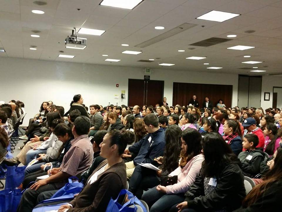 Parents gathered for a workshop by Julio Salazar. Photo provided.