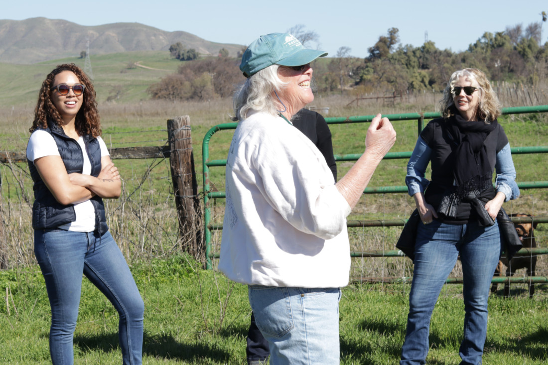 Paicines Ranch owner Sallie Calhoun (center) addressed the group. Photo credit Sheree Williams.