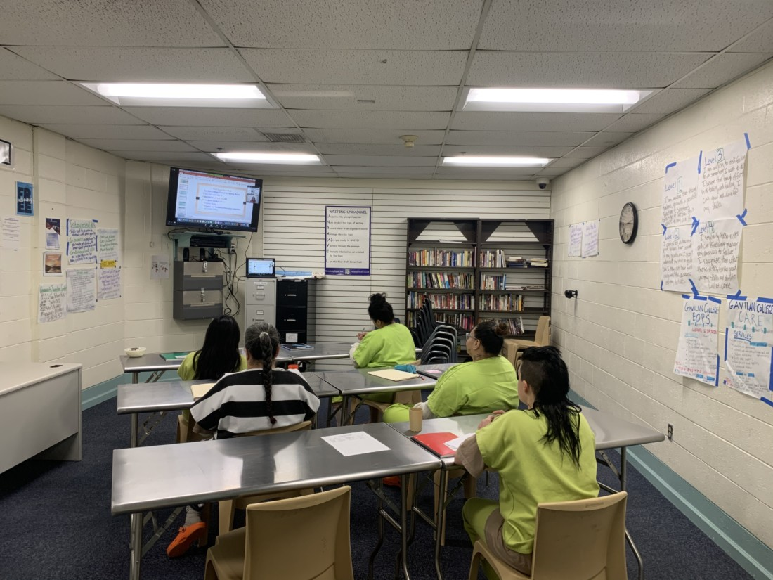 Female inmates at the San Benito County Jail attend remote Gavilan College classes. Photo provided by SBC Sheriff's Office.
