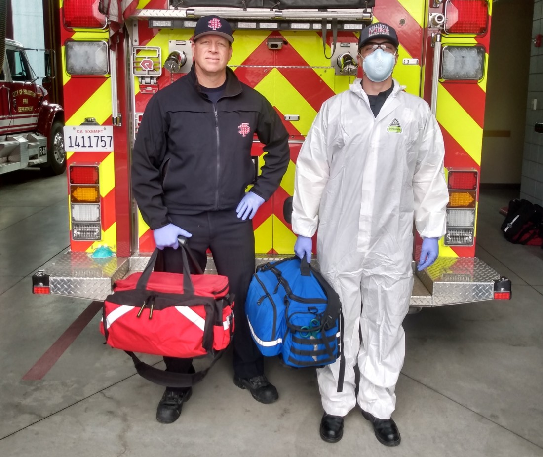 Hollister Fire Engineer Pruitt and Firefighter Soltis geared up for response. Photo provided by HFD.