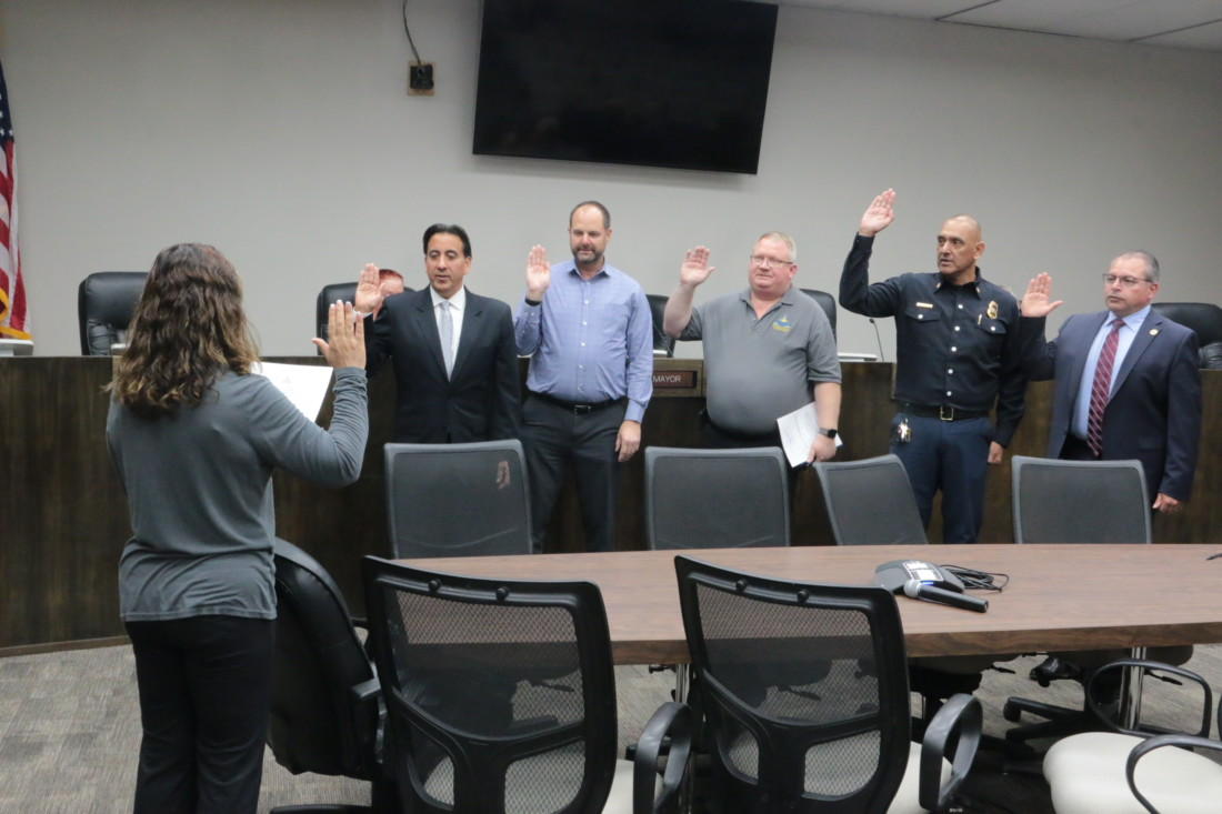 New emergency council is sworn in to address COVID-19 pandemic issues. Photos by John Chadwell.