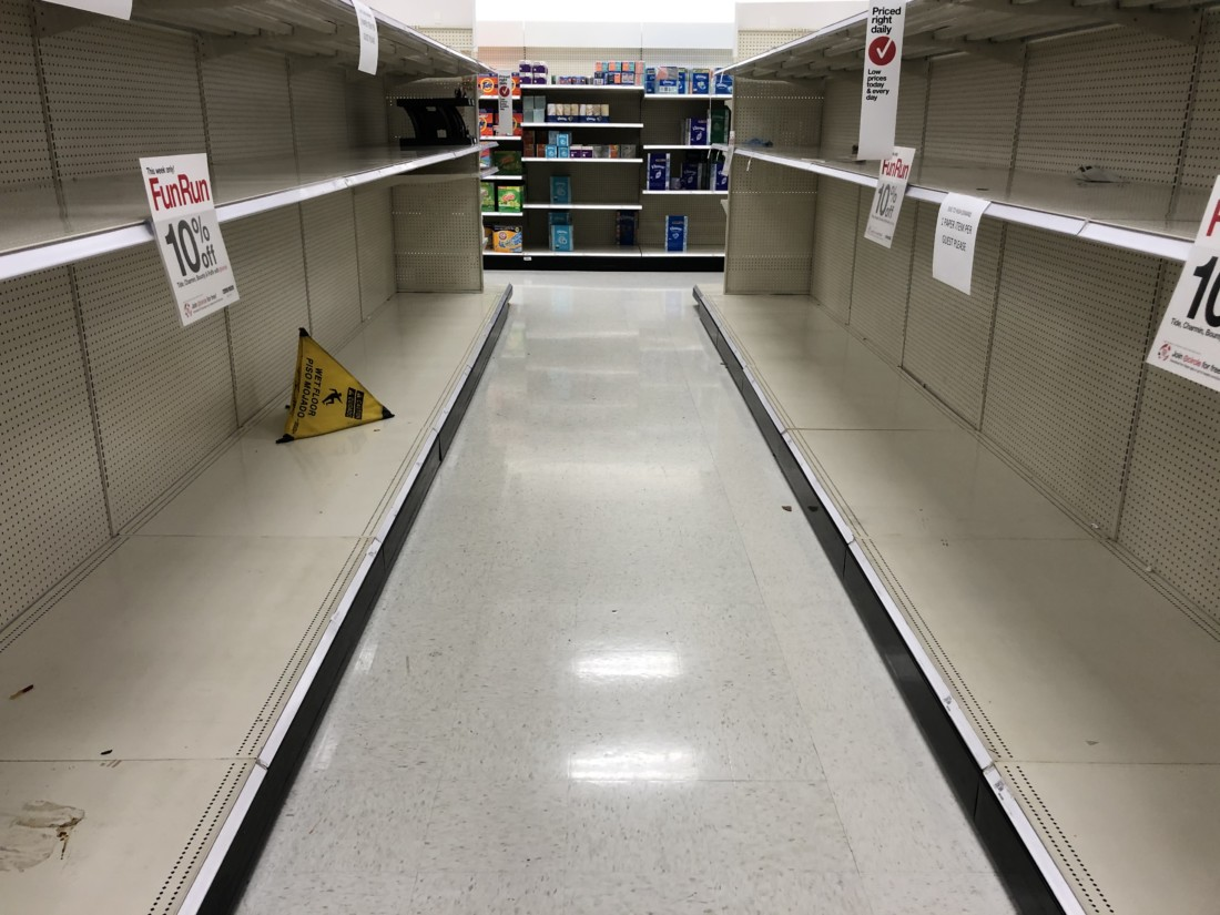 Empty shelves at Target on Friday March 13. Photo by John Chadwell