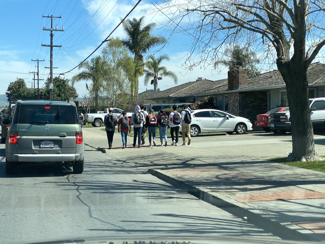 San Benito High School students head home from school on Thursday, March 12. All county schools will be closed March 16-20. Photo by Leslie David.
