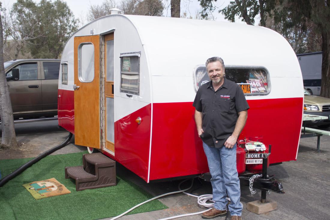 Vintage Camper Trailers club founder Paul Lacitinola poses near a trailer at Casa De Fruta. Photo by Noe Magaña.
