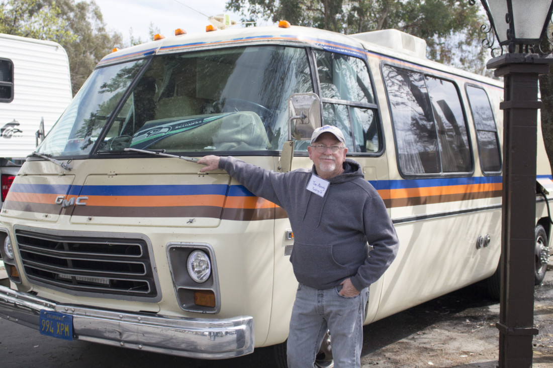 Tim Murray poses in front of his 1978 GMC motorhome on March 6 at a gathering of the Vintage Camper Trailers club. Photo by Noe Magaña.
