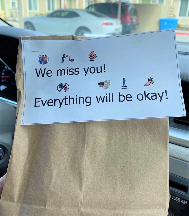 Positive messages are shared with students who receive their meals. Photo provided by Adam Breen.