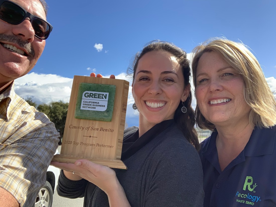 Shawn Novack (Water Resources Association of San Benito County), Celina Stotler (County Integrated Waste Management Division), and Lisa Jensema (Recology) pose with San Benito County's 2020 Top Program Performer award. The county's Green Business Program is made possible thanks to coordination by Integrated Waste Management and local partners like Recology, Water Resources Association of San Benito County, and more. Photo provided.
