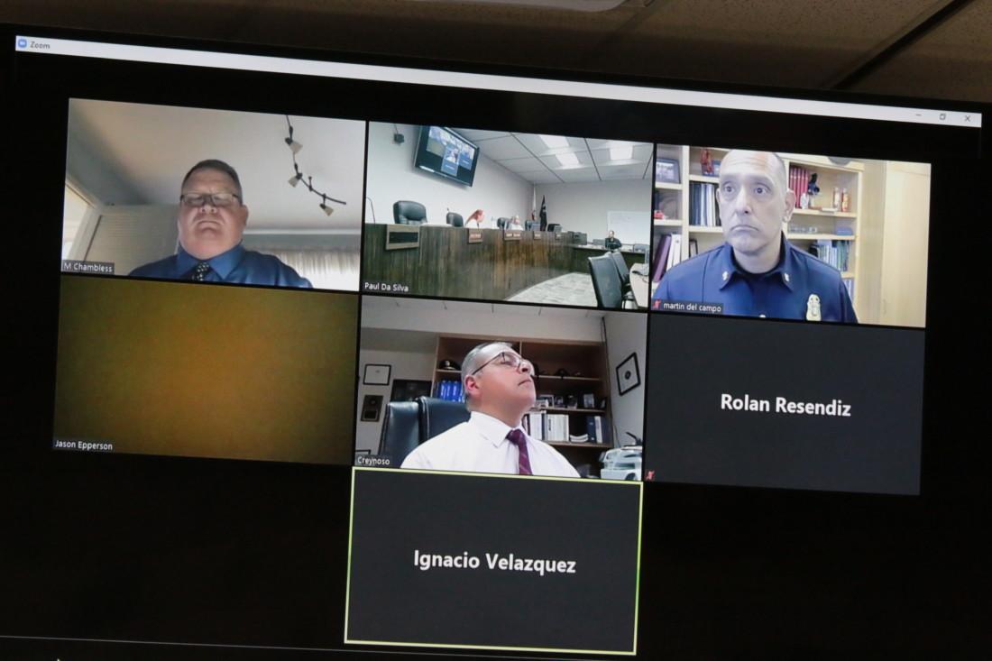 Mayor Ignacio Velazquez and Councilman Rolan Resendiz and others participated remotely.