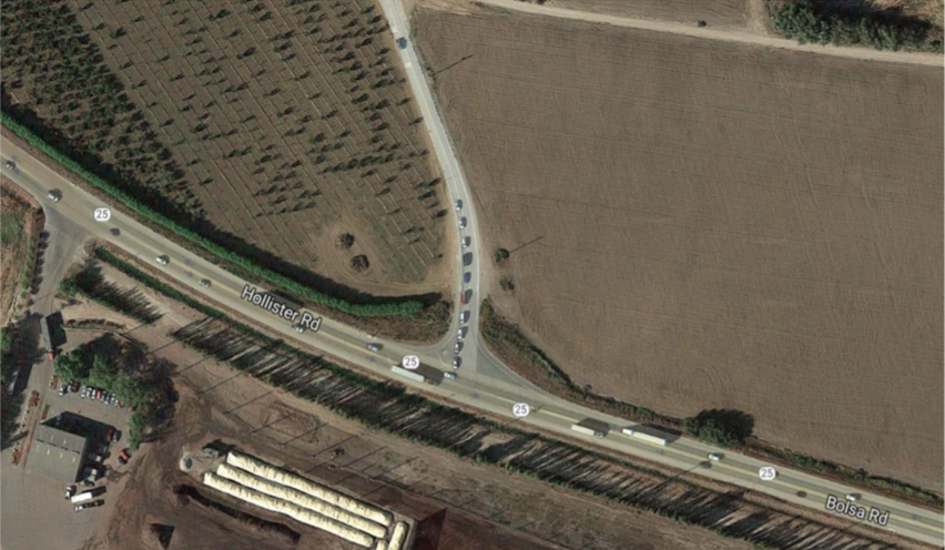 The intersection of Bolsa Road and Highway 25. Image from the Mobility Partnership meeting agenda packet.