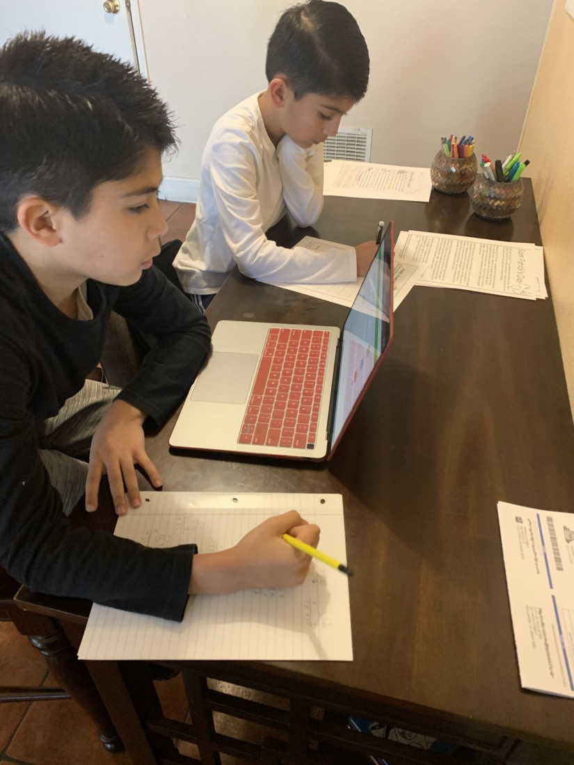 William and Matthew doing review work. Photo provided.