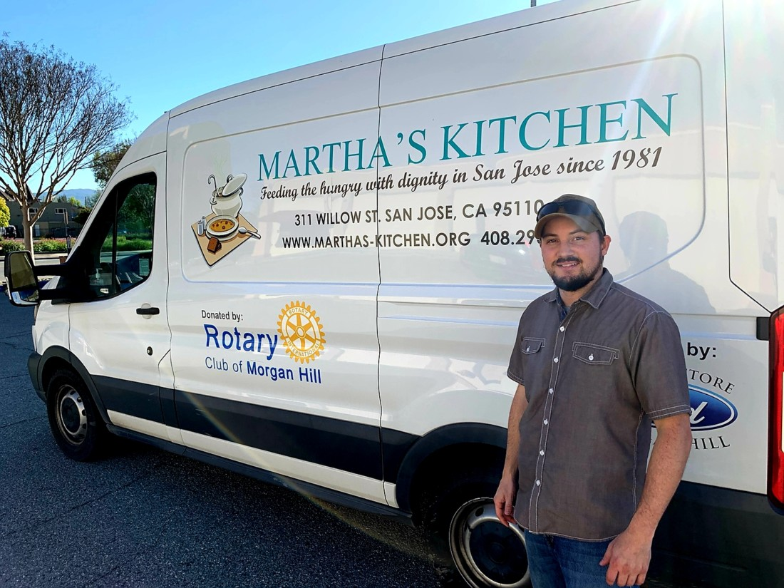 Nate Hensley of Hollister nonprofit The Manger is working with Martha's Kitchen to provide a free food drive-thru service on Mondays and Fridays. Photos provided.