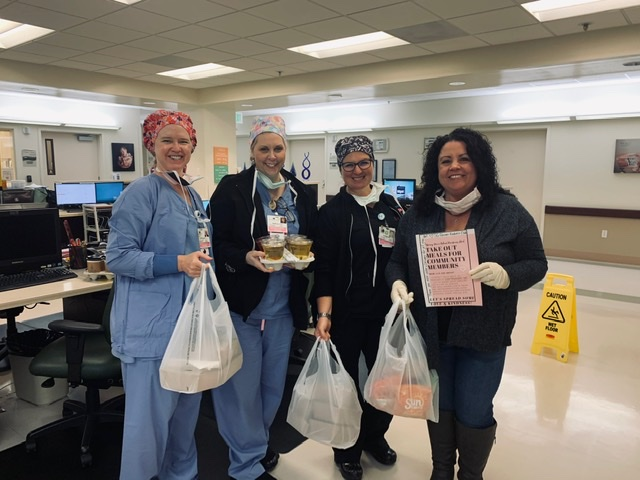Hazel Hawkins Hospital labor and delivery department staff Ruth King, Rebecca Sherwood and Allison Griffin stand with Spring Grove teacher and Kindness Club Director Julie Neff. Photo provided.