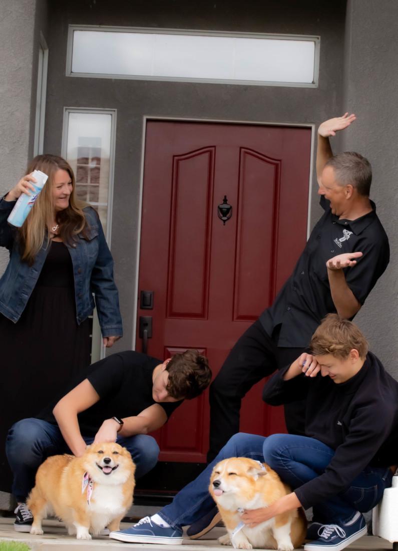 Julie Bonnet surprises her family during the shoot.