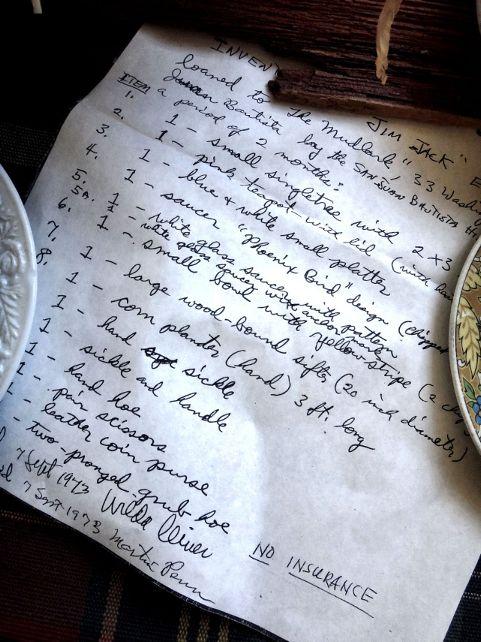 Inventory of Jim Jack's cabin. Photo by Robert Eliason.