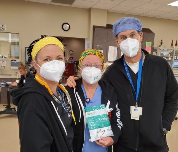 Staff from Hazel Hawkins Memorial and St. Louise Regional hospitals were happy to receive their new supply of KN95 protective masks. Photos provided by Ana De Castro.
