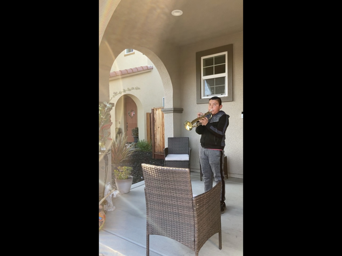 Sergio Sanchez playing the 'Star Spangled Banner' on his trumpet. Photo provided.