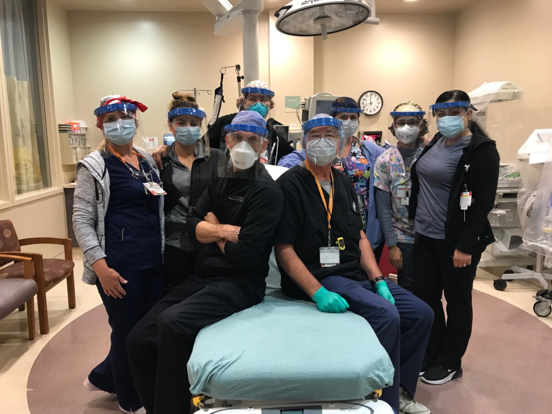 Hazel Hawkins Memorial Hospital staff wearing face shields fabricated by Pacific Scientific. Photo provided by Richard Henderson.