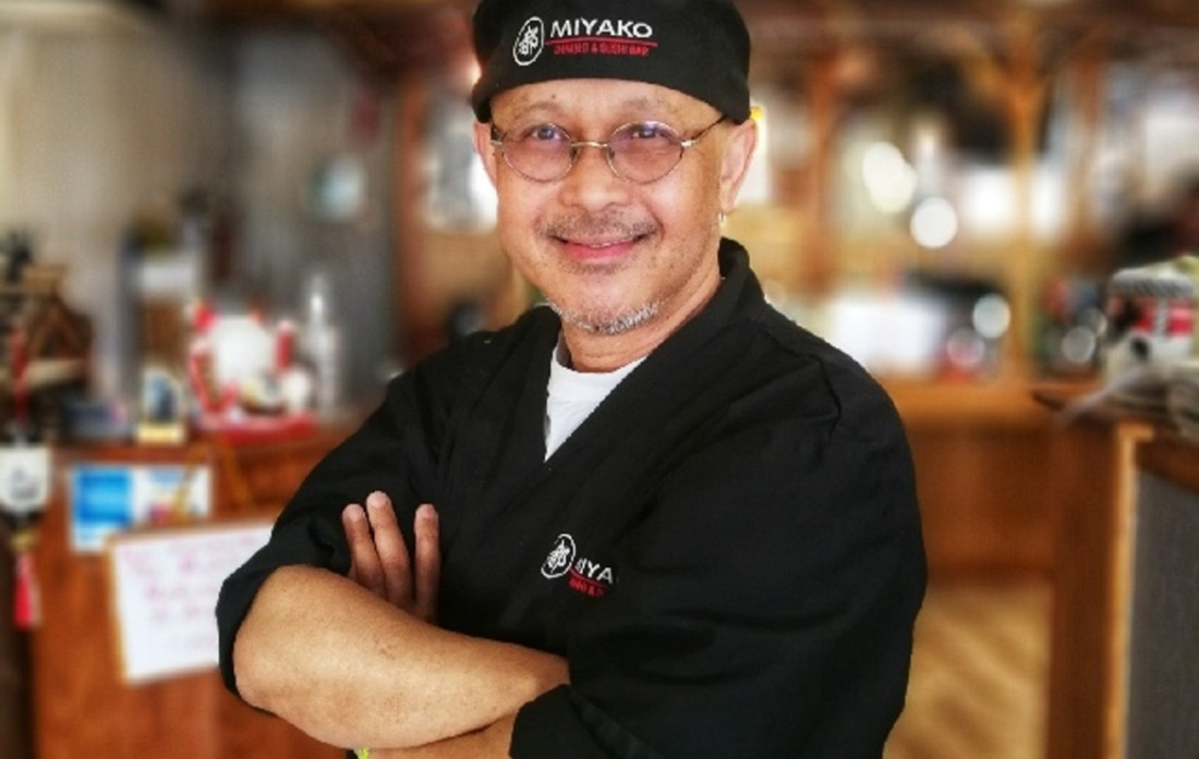 """Eddie Hoang's journey to Hollister began when he left Laos, fleeing the communist government in 1979. He worked in restaurants in Japan, becoming an """"itamae-san"""" or sushi chef before coming to America in 1986. He opened Miyako in 1997."""