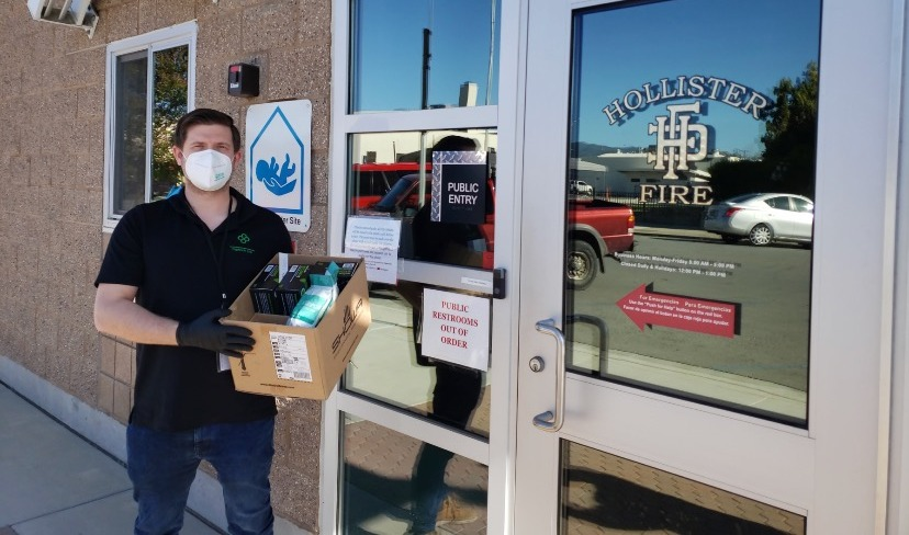 Faculty Manager Will Pennstrom dropping off supplies at the Hollister Fire Department. Photo provided.