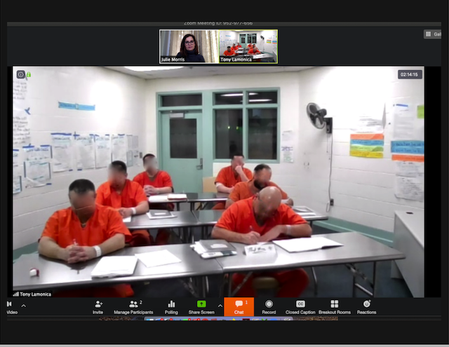 Students participate in a writing workshop at the San Benito County Jail. Photo provided by Julie Morris. (Faces have been blurred to protect privacy.)