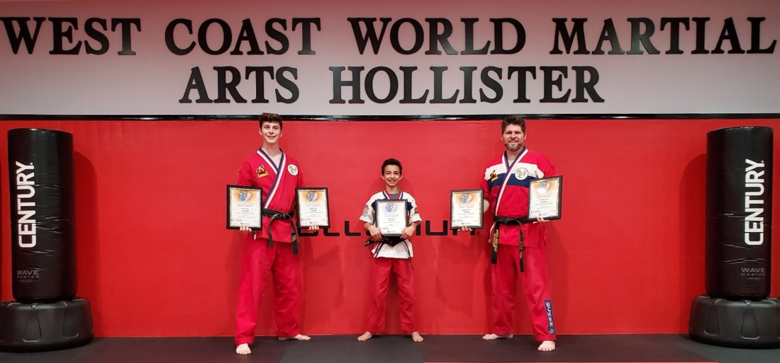 Noah, Aidan and Nathan Fort. The Fort family runs West Coast World Martial Arts in Hollister. Photos courtesy of Nathan Fort.