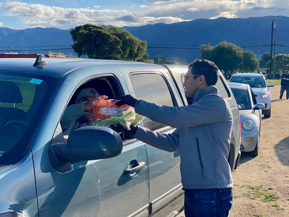 Rivas at a farmworker food drive in Salinas. Photo provided by the office of Robert Rivas.