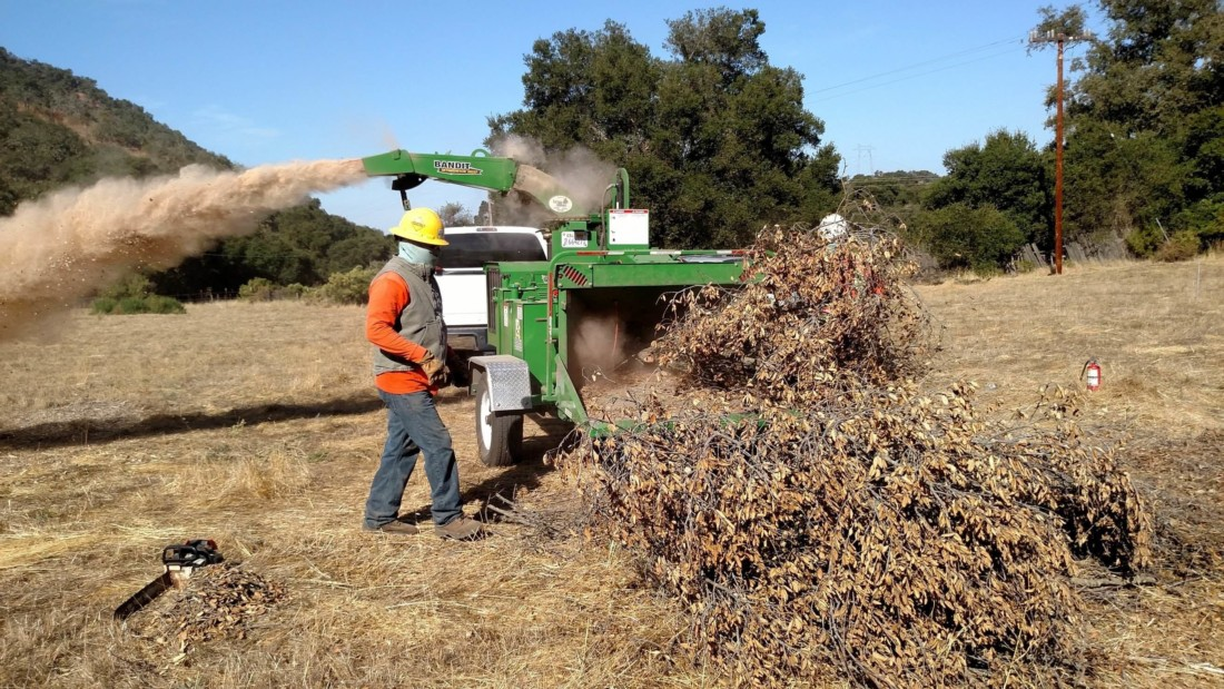 Wood going through the chipper. Photo provided by San Benito Fire Safe Council.