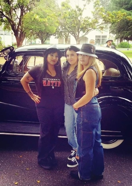 Sandra Casarez, Sally Diaz and Diane Bouldt at a lowrider car show in San Jose. Photo provided.